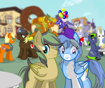 Size: 2500x2103 | Tagged: artist:succubi samus, balloon, blurred background, canterlot, cider, clothes, coat, commission, cute, cutie mark, dragon, earth pony, floating, freckles, helmet, oc, oc:ailan, oc:amber dragon, oc:azure quartz, oc:empathy, oc:grim rune, oc:north star, oc only, oc:rapid rescue, oc:rescue sunstreak, oc:wish, oc:zanith, pegasus, pony, reunion, safe, show accurate, silly, smiling, table, too many ponies, unicorn, wishlan