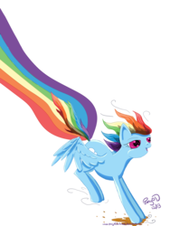 Size: 1024x1365 | Tagged: safe, artist:glacialfalls, artist:ponyofdarkness, rainbow dash, pegasus, pony, faic, female, landing, lithobraking, mare, rainbow trail, rainbows, simple background, solo, transparent background