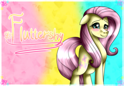 Size: 1548x1080 | Tagged: abstract background, artist:lada03, blushing, female, floppy ears, fluttershy, looking at you, mare, pegasus, pony, safe, shy smile, solo