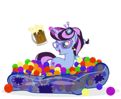 Size: 800x652 | Tagged: artist:pixelkitties, ball pit, dashcon, oc, oc only, oc:pixelkitties, pony, root beer, safe
