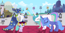 Size: 4000x2040   Tagged: artist needed, source needed, safe, princess celestia, princess luna, star swirl the bearded, pegasus, pony, alternate hairstyle, armor, blank flank, bowing, canterlot, carpet, cloud, commander hurricane guard, coronation, crown, crown pillow, earth pony flag, female, filly, flag, jewelry, mountain, pegasus flag, pegasus royal guard, pillow, regalia, royal guard, s1 luna, scaffolding, scenery, tower, unicorn flag, younger