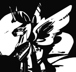 Size: 462x439 | Tagged: 4chan, alicorn, anonymous artist, black and white, crown, drawthread, frank miller, grayscale, jewelry, /mlp/, monochrome, peytral, pony, princess celestia, regalia, safe, sin city, solo, spread wings, style emulation, wings