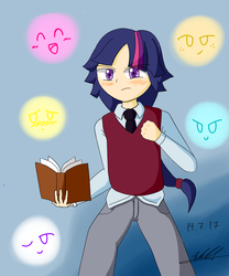 Size: 1000x1200 | Tagged: safe, artist:neutralchilean, twilight sparkle, human, blushing, book, clothes, dusk shine, humanized, looking at you, pants, rule 63, shirt, vest