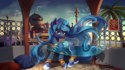Size: 1920x1080   Tagged: safe, artist:discordthege, oc, oc only, oc:moonlight silk, pony, unicorn, ankle bracelet, arabic, belly dancer, clothes, commission, female, flower, flower in hair, jewelry, looking at you, magic, mare, minaret, necklace, not hagia sophia, not luna, palace, scenery, smiling, solo