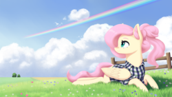 Size: 2000x1125 | Tagged: safe, artist:mrscroup, fluttershy, pegasus, pony, alternate hairstyle, clothes, cloud, cute, female, flower, flower field, folded wings, grass, grass field, head turn, implied rainbow dash, looking away, looking back, looking up, mare, outdoors, prone, shirt, shyabetes, sky