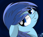 Size: 3500x3000 | Tagged: artist:cloufy, head tilt, looking back, oc, oc:cloufy, oc only, pony, safe, smiling, solo