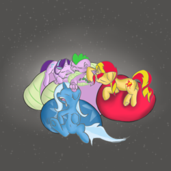 Size: 1600x1600 | Tagged: safe, artist:techgear, spike, starlight glimmer, sunset shimmer, trixie, dragon, pony, unicorn, beanbag chair, bisexual, cuddling, female, lesbian, male, mare, misleading thumbnail, polyamory, shipping, sleeping, sparlight, sparlixie, spike gets all the mares, spixie, straight, sunsetspike, sunsparlight, sunsparlixie
