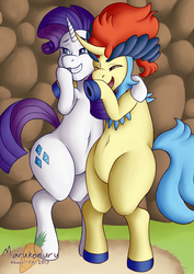 Size: 837x1183 | Tagged: artist:marukomuru, belly button, bipedal, crossover, duo, grin, keldeo, keldity, laughing, laughingmares.jpg, open mouth, pokémon, pony, rarity, safe, shipping, smiling, underhoof