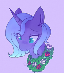 Size: 2457x2808 | Tagged: safe, artist:yomitai, princess luna, alicorn, pony, friendship is magic, blushing, bust, cute, female, flower, flower necklace, high res, lunabetes, portrait, rose, s1 luna, simple background, solo, wreath