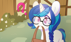 Size: 1084x648 | Tagged: safe, artist:lolopan, dj pon-3, vinyl scratch, pony, unicorn, adorkable, alternate hairstyle, bag, braid, colored pupils, confused, cute, dork, featured image, female, filly, frown, glasses, mouth hold, nerd, question mark, solo, vinylbetes, younger