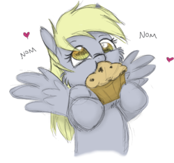 Size: 1344x1257 | Tagged: safe, artist:bri-sta, artist:longren, color edit, edit, derpy hooves, pegasus, pony, cheek fluff, colored, cute, derpabetes, eating, female, food, heart, hoof hold, mare, muffin, nom, simple background, solo, spread wings, that pony sure does love muffins, transparent background, wings