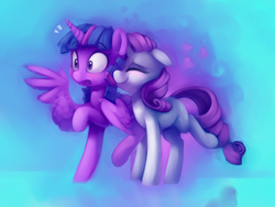 Size: 4000x3000 | Tagged: safe, artist:lilfunkman, rarity, twilight sparkle, alicorn, pony, unicorn, blushing, cute, eyes closed, female, floppy ears, heart, kissing, lesbian, nuzzling, painting, raised hoof, raised leg, raribetes, rarilight, shipping, simple background, smiling, spread wings, surprise kiss, surprised, twiabetes, twilight sparkle (alicorn), wingboner, wings