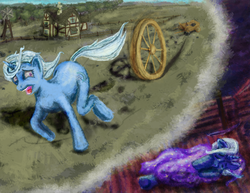 Size: 3300x2550 | Tagged: safe, artist:thatannoyingguy, trixie, pony, unicorn, don't trust wheels, dream, female, floppy ears, frown, mare, messy mane, nightmare, open mouth, running, scared, screaming, side, sleeping, solo, wheel, wheels trixie, wide eyes, windswept mane