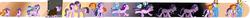 Size: 10000x700 | Tagged: safe, artist:zouyugi, night glider, party favor, starlight glimmer, sunburst, thorax, trixie, twilight sparkle, alicorn, pony, unicorn, blushing, colt, colt sunburst, crying, feels, female, filly, filly starlight glimmer, group hug, hug, male, twilight sparkle (alicorn), younger