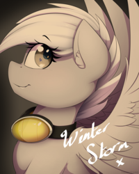 Size: 1200x1500 | Tagged: artist:thebatfang, autograph, female, goggles, looking back, oc, oc only, oc:winter storm, pegasus, pony, safe, simple background, smiling, solo, wings