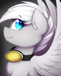 Size: 1200x1500 | Tagged: artist:thebatfang, ear fluff, female, goggles, looking back, oc, oc only, oc:winter storm, pegasus, pony, safe, simple background, smiling, solo, wings