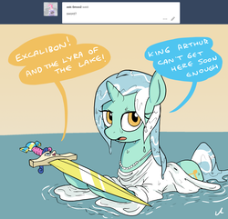 Size: 2100x2024 | Tagged: artist:docwario, ask, askblankbon, bon bon, bonpun, dialogue, excalibur, female, inanimate tf, king arthur, lady of the lake, lake, lesbian, lyrabon, lyra heartstrings, pony, pun, safe, shipping, speech bubble, sweetie drops, sword, transformation, tumblr, unicorn, weapon, wet clothes, wet mane