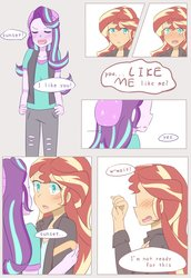 Size: 1409x2048 | Tagged: safe, artist:yuck, starlight glimmer, sunset shimmer, equestria girls, beanie, blushing, colored pupils, comic, confession, dialogue, female, hat, lesbian, love, shimmerglimmer, shipping