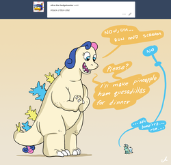 Size: 2100x2036 | Tagged: artist:docwario, ask, askblankbon, bon bon, bonpun, dialogue, female, godzilla, lesbian, lyrabon, lyra heartstrings, pony, pun, safe, shipping, simple background, species swap, speech bubble, sweetie drops, transformation, tumblr, unicorn, yellow background