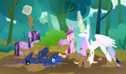 Size: 1219x716 | Tagged: alicorn, alicorn tetrarchy, artist:byteslice, bangs, cute, dirty, eyes closed, female, frown, grin, hair over eyes, hilarious in hindsight, lol, magic, majestic as fuck, mare, missing accessory, mud, mud bath, on back, open mouth, pony, princess cadance, princess celestia, princess luna, rain, safe, sillestia, silly, silly pony, smiling, spread wings, svg, .svg available, telekinesis, twilight is not amused, twilight sparkle, twilight sparkle (alicorn), unamused, vector, weapons-grade cute, wet, wet mane, wings