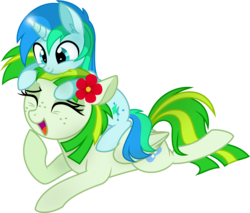 Size: 4110x3500   Tagged: safe, artist:aureai, oc, oc only, oc:cyan lightning, oc:green lightning, pegasus, pony, unicorn, .svg available, colt, cyan lightning riding green lightning, duo, ear fluff, eyes closed, female, flower, flower in hair, folded wings, freckles, happy, laughing, magic, male, mare, mother and son, open mouth, ponies riding ponies, pony hat, prone, raised hoof, riding, simple background, smiling, transparent background, vector