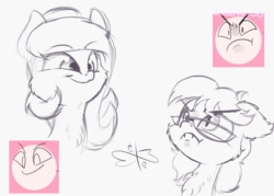 Size: 1050x750 | Tagged: artist:malwinters, bat pony, >:c, cheek fluff, chest fluff, ear fluff, expressions, fangs, frown, glasses, monochrome, oc, oc:nightwind, oc only, oc:wind chime, pegasus, pony, safe, sketch, smiling