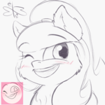 Size: 900x900 | Tagged: artist:malwinters, blushing, expressions, monochrome, oc, oc:nightwind, oc only, one eye closed, open mouth, pony, safe, solo, wink