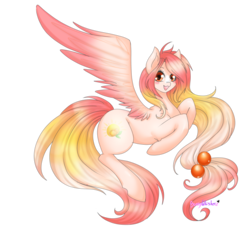 Size: 1024x1052 | Tagged: safe, artist:bunnywhiskerz, oc, oc only, oc:summer peach, pegasus, pony, female, mare, solo