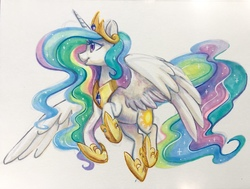 Size: 1243x941 | Tagged: safe, artist:dawnfire, princess celestia, alicorn, pony, beautiful, commission, copic, crown, cutie mark, ethereal mane, ethereal tail, female, flowing mane, flowing tail, flying, hoof shoes, jewelry, majestic, mare, marker drawing, multicolored mane, multicolored tail, open mouth, peytral, praise the sun, pretty, purple eyes, regalia, royalty, simple background, smiling, solo, sparkles, spread wings, tiara, traditional art, white background