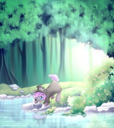 Size: 991x1111 | Tagged: safe, artist:airiniblock, oc, oc only, oc:sirocca, bat pony, pony, forest, pond, rcf community, reflection, solo, tongue out