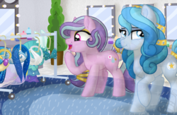 Size: 1024x667   Tagged: safe, artist:tambelon, oc, oc only, oc:diamond dove, oc:succulent scent, crystal pony, pony, backstage, clothes, dress, dressing room, excited, eyeshadow, female, jewelry, lesbian, makeup, mare, mirror, princess dress, shipping, watermark