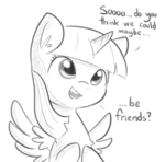 Size: 701x692 | Tagged: alicorn, artist:tjpones, bronybait, cute, dialogue, female, grayscale, monochrome, pony, safe, simple background, solo, tjpones is trying to murder us, twiabetes, twilight sparkle, twilight sparkle (alicorn), white background