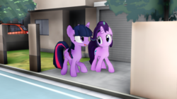 Size: 640x360 | Tagged: 3d, alicorn, artist:mmdkawaiiglimmery, car, house, mmd, pony, safe, starlight glimmer, subaru, subaru impreza, twilight sparkle, twilight sparkle (alicorn), walking