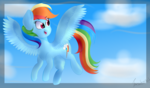 Size: 2007x1181 | Tagged: artist:itwasscatters, female, flying, mare, pegasus, pony, rainbow dash, safe, simple background, sky, solo