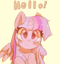 Size: 1000x1071 | Tagged: safe, artist:mewball, twilight sparkle, alicorn, pony, blushing, cute, female, hello, looking at you, mare, simple background, smiling, solo, twiabetes, twilight sparkle (alicorn), weapons-grade cute, yellow background