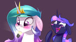 Size: 1920x1080 | Tagged: alicorn, artist:underpable, blushing, crying, cute, cutelestia, duo, floppy ears, laughing, lightbulb, pony, princess celestia, princess luna, royal sisters, safe, sillestia, silly, silly pony, sweat, tabun art-battle, tears of laughter