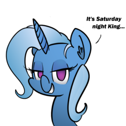 Size: 1024x1024 | Tagged: safe, artist:whydomenhavenipples, color edit, edit, trixie, pony, unicorn, bedroom eyes, colored, female, grin, lidded eyes, mare, simple background, smiling, solo, transparent background