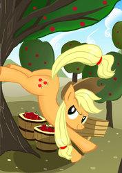 Size: 1768x2496   Tagged: safe, artist:neoshrek, applejack, pony, apple, apple tree, applebucking, applebutt, bucket, bucking, female, food, pixiv, solo, tree