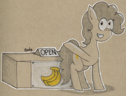 Size: 1342x1020 | Tagged: safe, artist:b-cacto, oc, oc only, oc:banana pie, pony, kiosk, solo, traditional art