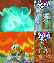 Size: 1670x1920 | Tagged: safe, edit, edited screencap, screencap, mistmane, rockhoof, earth pony, pony, unicorn, campfire tales, idw, legends of magic, spoiler:comic, spoiler:s07, beard, braid, clothes, cover, cropped, curved horn, dragon spirit, ethereal mane, facial hair, female, horn, lava, magic, male, mare, moustache, mouth hold, rockhoof's shovel, shovel, stallion
