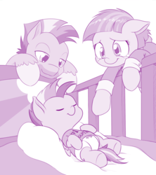 Size: 1000x1127 | Tagged: safe, artist:dstears, bow hothoof, rainbow dash, windy whistles, pegasus, pony, baby dash, clothes, crib, crying, cute, dashabetes, diaper, eyes closed, family, female, filly, filly rainbow dash, floppy ears, foal, hnnng, lidded eyes, male, mare, monochrome, on back, rainbow dash's parents, simple background, sleeping, smiling, stallion, tears of joy, trio, younger