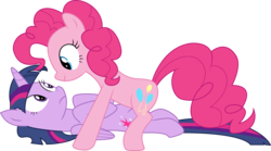 Size: 11993x6646   Tagged: safe, artist:paganmuffin, pinkie pie, twilight sparkle, alicorn, pony, fame and misfortune, spoiler:s07, absurd resolution, duo, female, looking at each other, mare, simple background, that was fast, transparent background, twilight sparkle (alicorn), vector