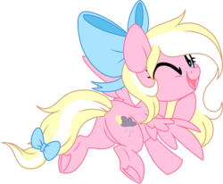 Size: 1024x845 | Tagged: safe, artist:kellythedrawinguni, oc, oc only, oc:bay breeze, pegasus, pony, bow, female, flying, hair bow, mare, one eye closed, simple background, solo, tail bow, transparent background, underhoof, wink