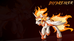 Size: 2560x1440 | Tagged: safe, artist:sentireaeris, daybreaker, alicorn, pony, a royal problem, fangs, female, gritted teeth, helmet, mare, raised hoof, solo, wallpaper