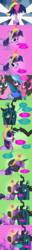 Size: 1266x9903 | Tagged: safe, artist:law44444, fluttershy, pinkie pie, queen chrysalis, rainbow dash, twilight sparkle, changeling, a canterlot wedding, absurd resolution, bad end, big crown thingy, changelingified, comic, crying, drool, drool string, elements of harmony, female, fluffy mane, jewelry, kissing, lesbian, mane six, mind control, regalia, species swap, transformation, twisalis