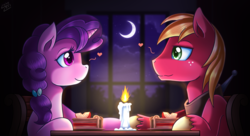 Size: 2000x1091   Tagged: safe, artist:vavacung, big macintosh, sugar belle, earth pony, pony, unicorn, candle, date, female, food, heart, looking at each other, male, mare, night, pie, shipping, smiling, stallion, straight, sugarmac