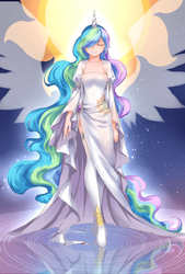 Size: 1181x1748   Tagged: safe, artist:courtnolu, princess celestia, human, alicorn humanization, beautiful, belly button, clothes, dress, elegant, eyes closed, female, halo, horned humanization, humanized, long hair, pixiv, reflection, ripples, side slit, smiling, solo, toes, translucent, winged humanization, wings