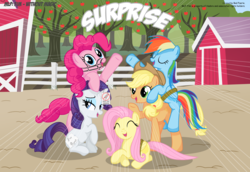 Size: 4800x3300 | Tagged: safe, artist:perfectblue97, applejack, fluttershy, pinkie pie, rainbow dash, rarity, pony, comic:without magic, absurd resolution, apple, apple tree, barn, comic, food, muzzle, rope, sweet apple acres, tree