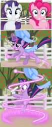 Size: 3300x8007 | Tagged: safe, artist:perfectblue97, peachy pie, pinkie pie, rarity, twilight sparkle, earth pony, pony, comic:without magic, absurd resolution, apple, apple tree, clothes, comic, earth pony twilight, food, muzzle, poster, sweet apple acres, tree