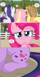 Size: 3300x6420 | Tagged: safe, artist:perfectblue97, applejack, fluttershy, peachy pie, pinkie pie, rarity, twilight sparkle, pony, comic:without magic, absurd resolution, alternate cutie mark, apple, apple tree, comic, food, poster, sweet apple acres, tree